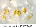 golden christmas balls on white ... | Shutterstock . vector #535677469