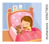 little girl sleeping | Shutterstock .eps vector #535677853