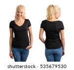 woman in black v neck t shirt  | Shutterstock . vector #535679530