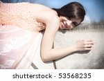 attractive smiling woman is... | Shutterstock . vector #53568235