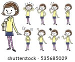 girls  set  variations | Shutterstock .eps vector #535685029