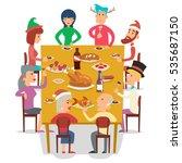 christmas group friends family... | Shutterstock .eps vector #535687150