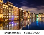 Amsterdam Night Canal Reflection