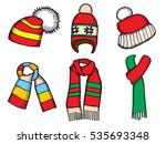 winter clothes. santa stocking... | Shutterstock . vector #535693348