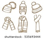 winter clothes. santa stocking... | Shutterstock . vector #535693444