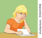 young woman writes a letter ...   Shutterstock . vector #535694908