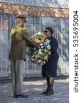 Small photo of Minister of Defence Mapisa-Nqakula. Minister of Defence Mapisa-Nqakula at the SADF Wall of Remembrance 31 May 2015, Annual Commemoration Service of the Military Veterans' Organisations, laying wreath.
