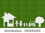 paper cut of family on green... | Shutterstock . vector #535696324