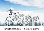 young businessman against city...   Shutterstock . vector #535711399
