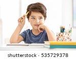 cute little boy thinking about... | Shutterstock . vector #535729378