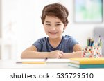 cute little boy smiling  on... | Shutterstock . vector #535729510