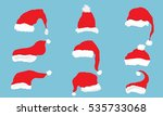 vector collection of red santa... | Shutterstock .eps vector #535733068