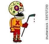 ice hockey player with hockey... | Shutterstock .eps vector #535737250