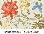 exotic flowers and butterflies. ... | Shutterstock .eps vector #535753834