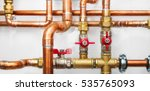 copper valves and pipes on a... | Shutterstock . vector #535765093