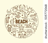 beach minimal thin line icons... | Shutterstock .eps vector #535772068