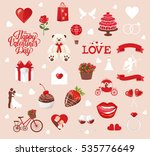 valentine's day icons  teddy... | Shutterstock .eps vector #535776649