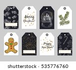 gift tags set. vector hand... | Shutterstock .eps vector #535776760