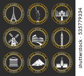 stickers and icons of travel. ... | Shutterstock . vector #535779334