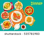 meat dishes with fresh salads...   Shutterstock .eps vector #535781983