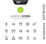 outline black icons set in thin ... | Shutterstock .eps vector #535784140