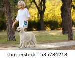 Stock photo senior woman walking with dog in park 535784218