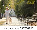 Stock photo senior woman walking with dog in park 535784290