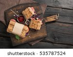 sandwiches with meat grill on... | Shutterstock . vector #535787524