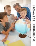 teacher with kids in geography... | Shutterstock . vector #535794064