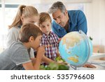 teacher with kids in geography... | Shutterstock . vector #535796608
