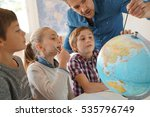 teacher with kids in geography... | Shutterstock . vector #535796749