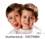 two brothers making facial... | Shutterstock . vector #53579884
