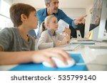 teacher with school kids in... | Shutterstock . vector #535799140