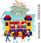 many children jumping on... | Shutterstock .eps vector #535820128