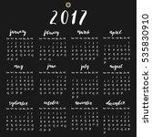 year 2017 calendar with hand... | Shutterstock .eps vector #535830910