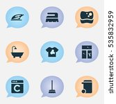 set of 9 editable cleanup icons.... | Shutterstock . vector #535832959