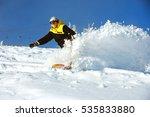 fast snowboarder downhill in... | Shutterstock . vector #535833880