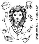 lion in suit. gentleman icons.... | Shutterstock .eps vector #535835524