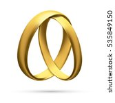realistic gold wedding rings... | Shutterstock .eps vector #535849150