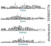 vector skylines of tokyo  seoul ... | Shutterstock .eps vector #535853776