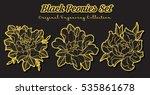 vector black peonies set...   Shutterstock .eps vector #535861678