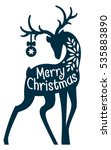 christmas deer laser cut card.... | Shutterstock .eps vector #535883890