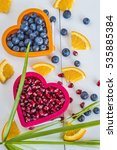 valentine concept blueberries... | Shutterstock . vector #535885384