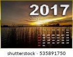 calendar july 2017 on sunset... | Shutterstock . vector #535891750