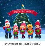little kids singing christmas... | Shutterstock .eps vector #535894060