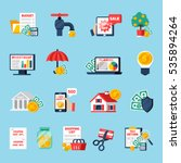 home budget icons set with... | Shutterstock .eps vector #535894264