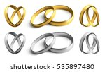 set of gold and silver wedding... | Shutterstock .eps vector #535897480