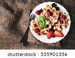 belgian waffles with...   Shutterstock . vector #535901356