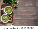 green cream soup of spinach and ... | Shutterstock . vector #535903888