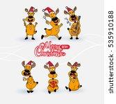 christmas set of deer with...   Shutterstock .eps vector #535910188